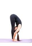 La signalisation asiatique de yoga de soins de santé de femme a isolé le fond blanc photo libre de droits