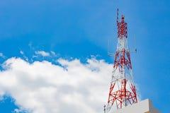 La signalisation du poteau a un ciel de fond et des nuages image stock