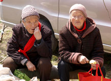 La signora anziana di resto del bordo della strada Fotografie Stock Libere da Diritti