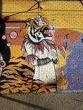 La signora con una testa della tigre Immagini Stock Libere da Diritti