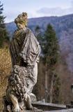 La signora ed il suo leone fatti dalla pietra Fotografia Stock