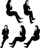 La silhouette arabe de femme contemplent dedans la pose, d'isolement sur le fond blanc illustration de vecteur