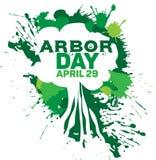 La silhouette blanche de vecteur d'un arbre sur un fond de vert éclabousse Images libres de droits