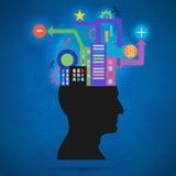 La silhouette créative de concept de la tête, du cerveau, et des impulsions Procédé de penser humain Le concept de l'intelligence Images libres de droits