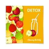 La silhouette d'une bouteille avec une paille, les pommes mûres portent des fruits Llustration de carte de vecteur Photo libre de droits