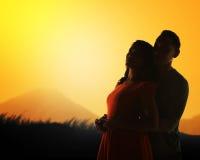 La silhouette de couples Photos stock
