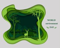 La silhouette de famille de cerfs communs sur le Livre vert a coupé le backgrod abstrait de forme illustration de vecteur