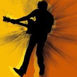 La silhouette de guitariste Images libres de droits