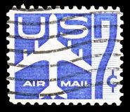 La silhouette de Jet Airliner, envoient le serie par avion 1952-1967, vers 1958 image stock