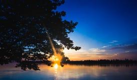 La silhouette de l'arbre sur la gauche avec la rivière et le soleil évasent sur le coucher du soleil Photographie stock libre de droits