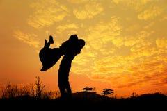 La silhouette de l'homme et la femme aiment dans le coucher du soleil Photo libre de droits