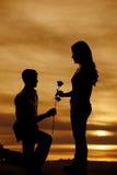 La silhouette de l'homme sur la femme de main de genou s'est levée Photos libres de droits
