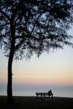 La silhouette de l'homme sur la plage Photos stock