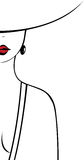 La silhouette de la femme avec les lèvres lumineuses Photographie stock