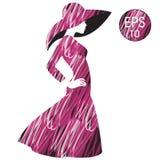 La silhouette de la femme dans le chapeau de mode Photos libres de droits