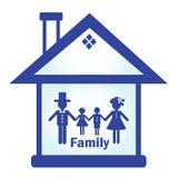 La silhouette de la maison et de la famille Image stock