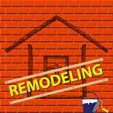 La silhouette de la maison sur un mur de briques rouge La Chambre transforment le logo de société illustration stock