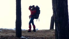 La silhouette de touristes fait des photos dans la forêt banque de vidéos