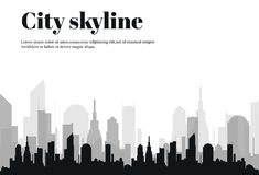 La silhouette de la ville dans un style plat Horizontal urbain moderne Illustration de vecteur illustration libre de droits