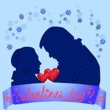 La silhouette deux d'un garçon et d'une fille Photographie stock libre de droits