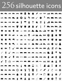 La silhouette diverse d'ensemble des icônes plates dirigent l'illustration Image stock