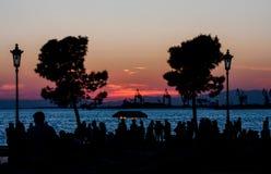 La silhouette du coucher du soleil Photographie stock libre de droits