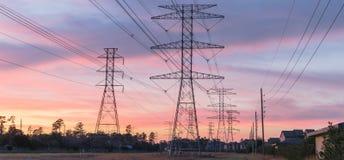 La silhouette industrielle de groupe de fond de la transmission domine le su Photo stock