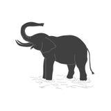 La silhouette noire d'un éléphant sur un fond blanc Images stock