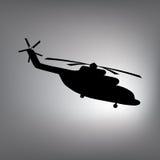 La silhouette noire d'un hélicoptère Photographie stock