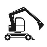 La silhouette noire d'une excavatrice avec un plongeur Construction de véhicule Images libres de droits