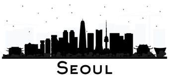 La silhouette noire et blanche d'horizon de ville de Séoul Corée avec se reflètent illustration stock