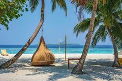 La silla de la ejecución debajo de la palmera en una playa en Maldivas recurre Imagen de archivo libre de regalías