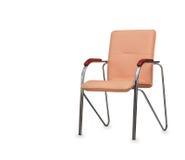 La silla de la oficina del cuero amarillento Aislado Imagen de archivo