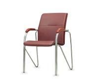 La silla de la oficina del cuero marrón Aislado Imagen de archivo