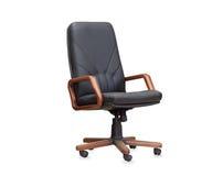 La silla de la oficina del cuero negro Aislado Foto de archivo libre de regalías