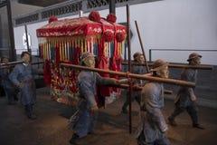 La silla de sedán en China antigua imagenes de archivo