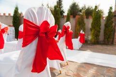 La silla fijó para casarse, otro evento abastecido o la ceremonia que visitaba Fotos de archivo libres de regalías