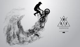 La silueta abstracta de un jinete del bmx en el fondo blanco de partículas, jinete de Bmx del polvo salta y realiza el truco
