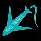 La silueta azul de los aviones con el tiempo de la inscripción viaja ilustración del vector