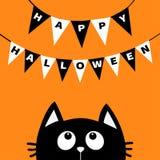 La silueta de la cabeza de la cara del gato negro que mira para arriba al golpe ligero señala feliz Halloween de las letras por m ilustración del vector