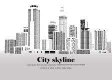 La silueta de la ciudad en un estilo plano Paisaje urbano moderno Ilustración Imagen de archivo