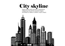 La silueta de la ciudad en un estilo plano Paisaje urbano moderno Ilustración Fotos de archivo