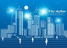 La silueta de la ciudad en un estilo plano Paisaje urbano moderno Ilustración Imagen de archivo libre de regalías