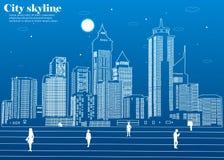 La silueta de la ciudad en un estilo plano Paisaje urbano moderno Ilustración Imágenes de archivo libres de regalías
