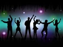 La silueta de la gente significa música y danza del disco stock de ilustración