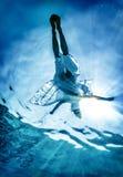 La silueta de la mujer en superficie del mar Foto de archivo