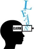 La silueta de la persona aprende ganar la educación Imagen de archivo libre de regalías