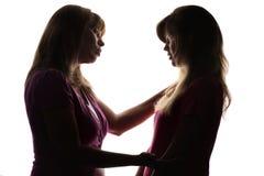 La silueta de relaciones amistosas entre la madre y el adolescente de la hija, madre da consejo con amor Imagen de archivo libre de regalías