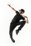 La silueta de un baile masculino del bailarín de la rotura del hip-hop en el fondo blanco Imagenes de archivo