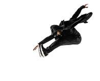 La silueta de un baile masculino del bailarín de la rotura del hip-hop en el fondo blanco Imagen de archivo libre de regalías